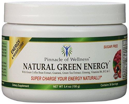 Pináculo de bienestar energía verde Natural en polvo - sabor de la uva - 30 porciones - 5,4 oz (150g) - con 800mg de extracto de café verde puro - té verde hoja - raíz asiática de Ginseng y Guaraná semilla - vitamina C - B6 y B12 - azúcar bebida de mezcla