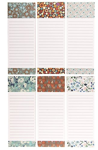 (To-do-List Notepad – 6-Pack Magnetic Notepads, Grocery List Magnet Pad Stationery for To Do List, Floral Designs, 60 Sheets Per Pad, 3.5 x 9 Inches)