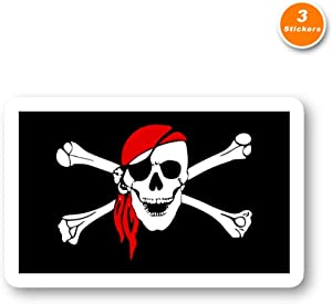 Pirate Flag Sticker Arghh Mateys Stickers - 3 Pack - Set of 2.5, 3 and 4 Inch Laptop Stickers - for Laptop, Phone, Water Bottle (3 Pack) S214545