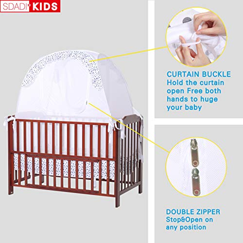 SDADI Baby Crib Safety Tent Pop Up Mosquito Net with Baby Monitor Hang Ribbon,Toddler Bed Canopy Netting Cover |Star WLCN01S by SDADI (Image #3)