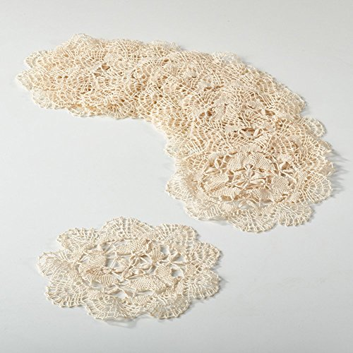 Fennco Styles Handmade All-over Cluny Lace Cotton Doilies, 6 Inches Round, Beige (Crocheted Lace Doily)