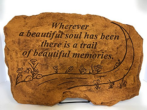 Kay Berry Wherever a Beautiful Soul has been there is a Trail of Beautiful Memories; Memorial Stone Sympathy Gift; Sandstone 10x15; With Stand (Beautiful Berries)