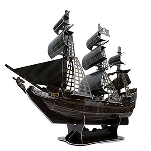 Caribbean 6 Piece - 3D Puzzle Model Ship Queen Revenge 104 Pieces Pirates of the Caribbean Black Pearl Ship DIY 3D Ship Model