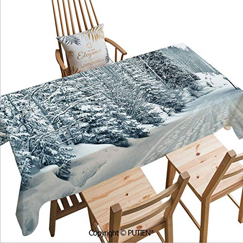 SCOCICI Tablecloths Easy Care Ski Themed Snowy Road Cold Parts of The World Footprints Colorado United States Decorative for Indoor Outdoor Camping Picnic,W82xL55(inch) ()