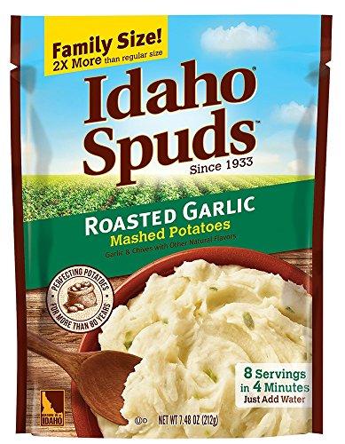 Idaho Spuds Family Size, Roasted Garlic Mashed Potatoes, 6 Count