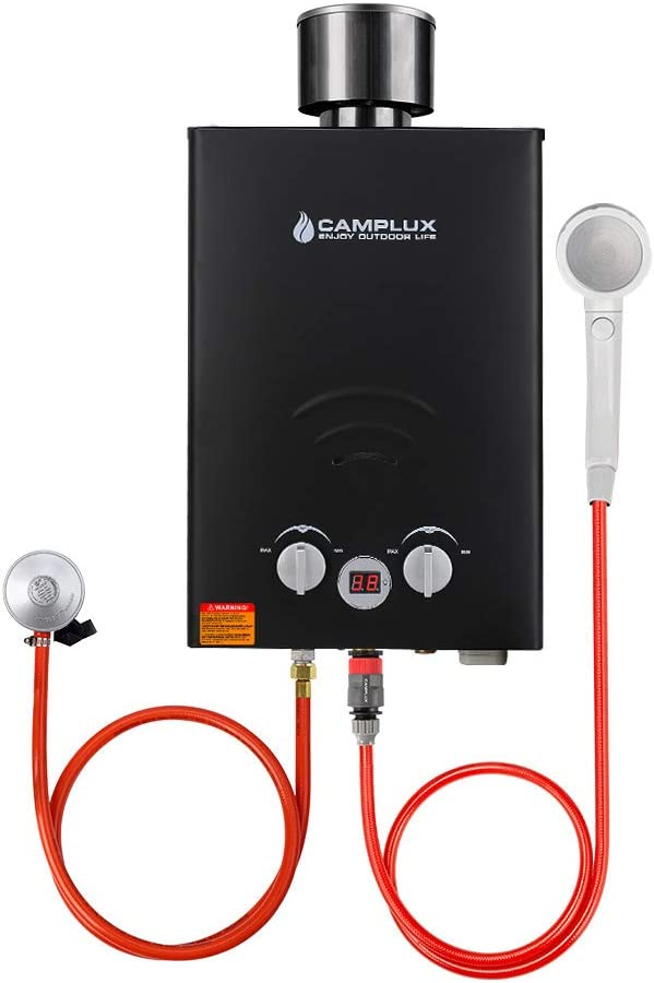 Camplux BW158BC 6L Instant Gas Water Heater with Rain Cap, CE Certified GAR Standard Tankless Propane Gas Boiler, Use for Outdoor Shower Camping RV Trip Horse Washing