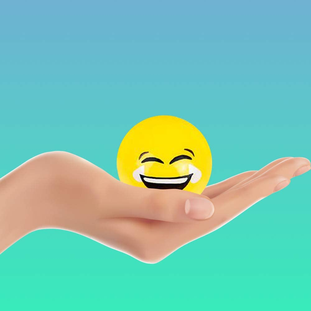 Room Decoration Beneficial Party Supply Kicko Sticky Splat Emoticon Ball Stocking Stuffers Set of 12-2.5 Inch Funny Squishy Emoji Balls in Vibrant Yellow Color for Stress Relief