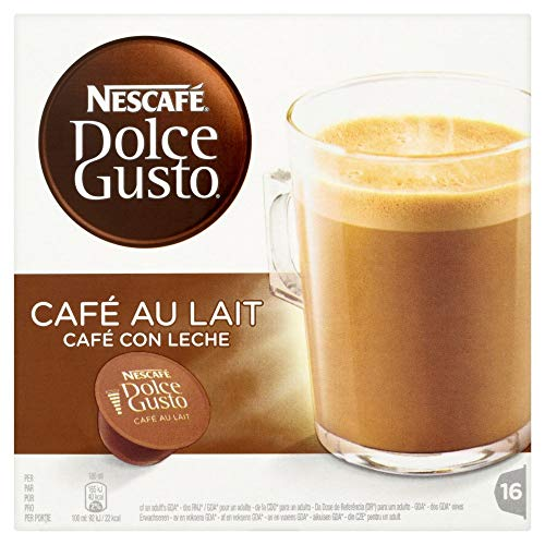 Nescafe Dolce Gusto Coffee Pods - Nescaf? Dolce Gusto CAF? Au Lait (Pack of 3, Total 48 Capsules)