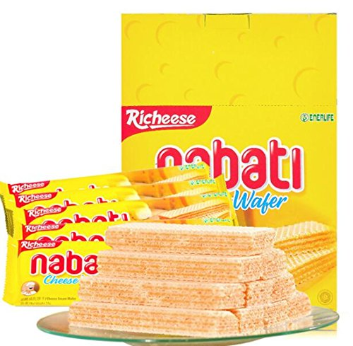 Instant Snack from Indonesia Richeese Nabati Cheese Wafer Biscuit 200g/0.4lb/7.0oz (Best Biscuits Cheese)