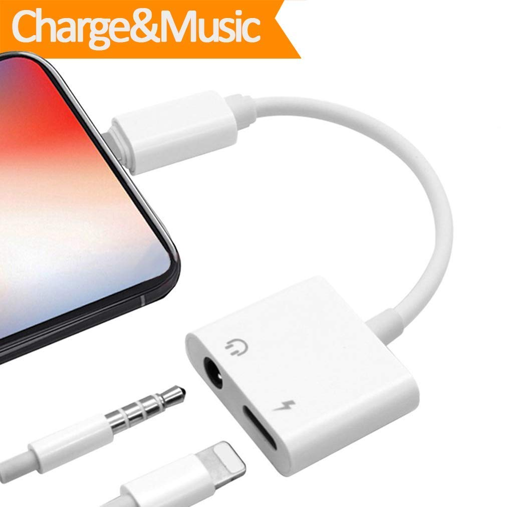 3.5mm Headphone Dongle Adapter Jack for PhoneX 8/8 Plus 7/7 Plus Earphone Aux Audio Accessories Adaptor Cable 2 in 1 Splitter Charge+Music Convertor Earbuds Splitter(White)
