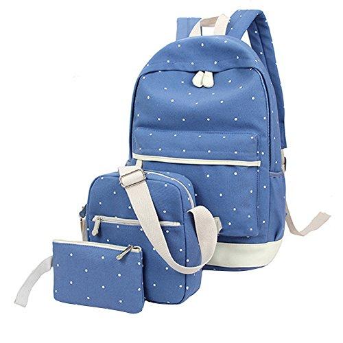 Slendima Sale! 3 in 1 Cute Dots Printed Large Capacity Leisure Bag Set, School Students Shoulder Bag+Backpack+Handbag - 6 Colors is Available by Slendima
