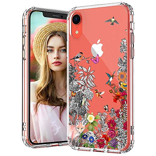 (MOSNOVO iPhone XR Case, Clear iPhone XR Case, Floral Flower Humming Bird Pattern Clear Design Transparent Plastic Hard Back Case with Soft TPU Bumper Protective Case Cover for Apple iPhone XR)