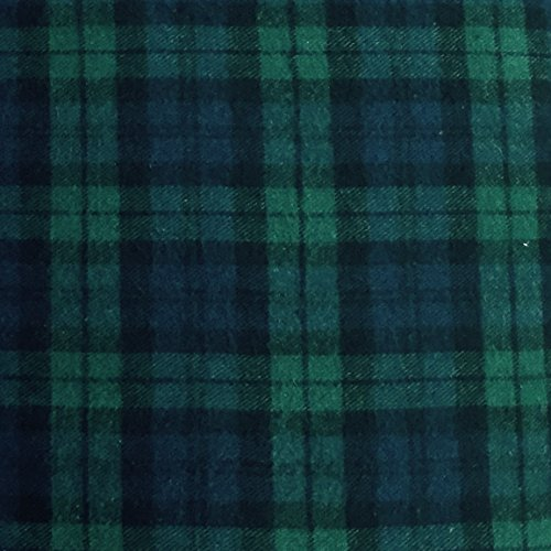 5 Yard Bolt Black Watch Plaid Flannel Cotton Fabric (100 Cotton Flannel Fabric By The Yard)