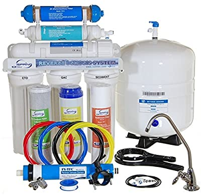 iSpring 75GPD 6-Stage Reverse Osmosis RO DI (De-ionization) Water Filter #RCC7D