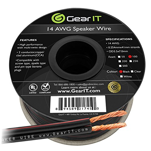 (14AWG Speaker Wire, GearIT Pro Series 14 AWG Gauge Speaker Wire Cable (100 Feet / 30.48 Meters) Great Use for Home Theater Speakers and Car Speakers)