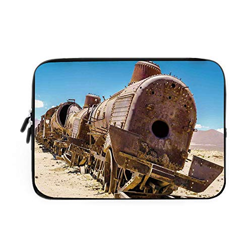 e Bag,Neoprene Sleeve Case/Rusty Old Abandoned Steam Train Locomotive Cemetery Railroad Wreck Picture Print Decorative/for Apple MacBook Air Samsung Google Acer HP DELL Le ()
