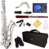 Mendini by Cecilio MTS-N+92D Nickel Plated B Flat Tenor Saxophone with Tuner, Case, Mouthpiece, 10 Reeds and More