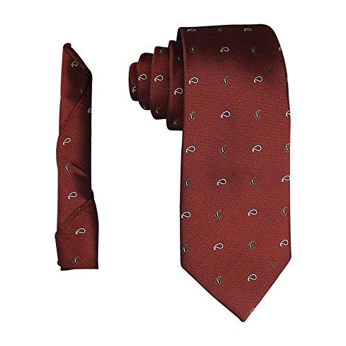 Paisley Copper (AZAR Mens Modern Designed Neck Tie & Hanky Pocket Square Set Medium Width 7CM (Copper White Gold Paisley))