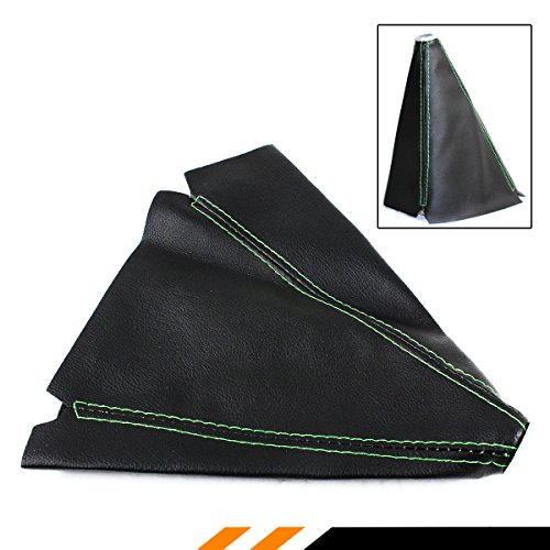 UNIVERSAL BLACK PVC LEATHER MANUAL SHIFT SHIFTER BOOT COVER (GREEN STITCHING) Green Shift