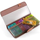 Pill Case Organizer for Home Travel - Weekly Pill Container Dispenser Reminder 4 Times a Day to Hold Vitamins Supplements Prescription 7 Days Medication Holder Stylish Wooden Color PU Leather Wallet