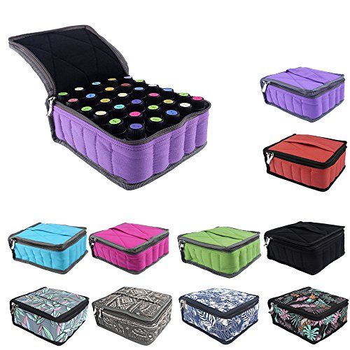 Essential Oils Storage – pureGLO 30 Bottle Essential Oil Carrying Case - Essential Oil Organizer Bag Travel Carrier Holds 5ml, 10ml, 15ml Vials – Holder for Young Living & Doterra Containers (Purple)