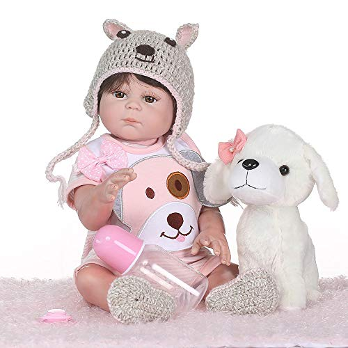 Pinky Realistic Looking 20Inch 50cm Reborn Baby Dolls Silicone Full Body Baby Doll Lifelike Newborn Baby Girl Doll Real Life Toddler Doll with Toy Cute Child Xmas and Birthday Gift]()