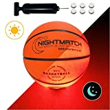 NightMatch Light Up Basketball - Junior Edition - INCL BALL PUMP and SPARE BATTERIES - Inside LED lights up when kicked - Glow in the Dark Basketball- Size 5 - Official Size & Weight