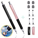 aibow Capacitive Stylus Pens for iPad , iPhone and Other Touch Screens [ Fine Point Disc Tip & Mesh Tip 2in1 Series ] with 4 Replaceable Disc Tips & 4 Replaceable Mesh Tips(Black/Rose Gold)