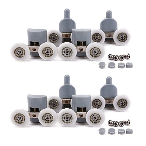 Shower Door Wheels, Lance Home 8Pcs Double Twin Top / Bottom Shower Door Rollers / Runners / Pulleys / Wheels Bathroom Replacement Parts 25mm Diameter