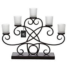 "Hosley 18.11"" Long 5 Frosted Glass Cup, Decorative Metal Tealight Votive Holder with Free 25pcs Tealights. Ideal Gift for Fireplace, Family Room, Spa, Aromatherapy, Votive Candle Gardens"