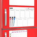 Magnetic Calendar for Refrigerator with To Do List Board, Chore List, Grocery List Magnet Pad,  - Weekly Whiteboard Calendar 2019 - Big Planner Board Calendar Dry Erase Magnet for Refrigerator