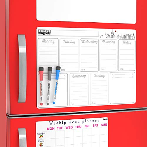 Dry Erase Magnetic Whiteboard Sheet Boards with Colorful Markers - Large Weekly Magnetic Fridge Board w/ Flexible Whiteboard Message List for Your Goals and Small Dry Erase Menu Board for Refrigerator