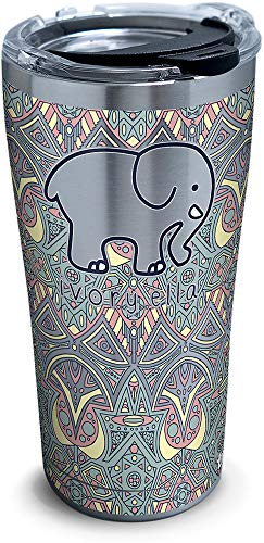 Tervis 1318737 Ivory Ella - Mosiac Print Stainless Steel Insulated Tumbler with Lid, 20 oz, Silver