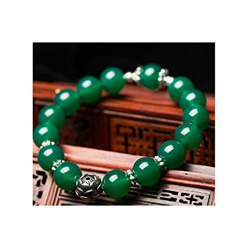 Twister Costume Couples (The Starry Night Tibet Silver Lotus Flower Pattern Natural Green Agate 10mm Beaded Bracelet Lucky String)