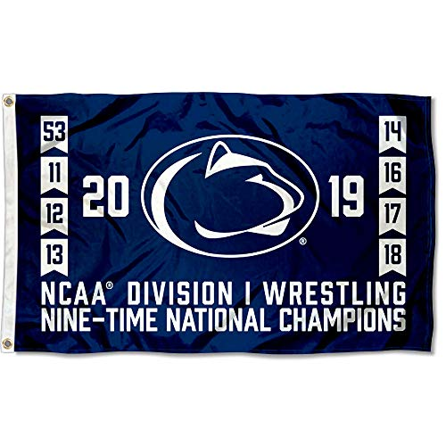 Penn State Nittany Lions 2019 and 9 Time Wrestling National Champions Flag