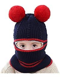 Girls Winter Warm Hats Balaclavas Hat Scarf Earflap Hood Scarves Soft Thermal Fleece Windproof Ski Beanie Skull Caps (Pom Navy Blue)