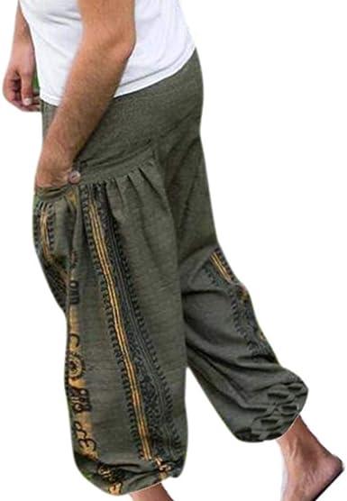 Oneforus - Pantalones Harem de Genie Ninja Aladdin de algodón para hombre, pantalones boho estampados Hippie de lana 19 XL: Amazon.es: Ropa y accesorios