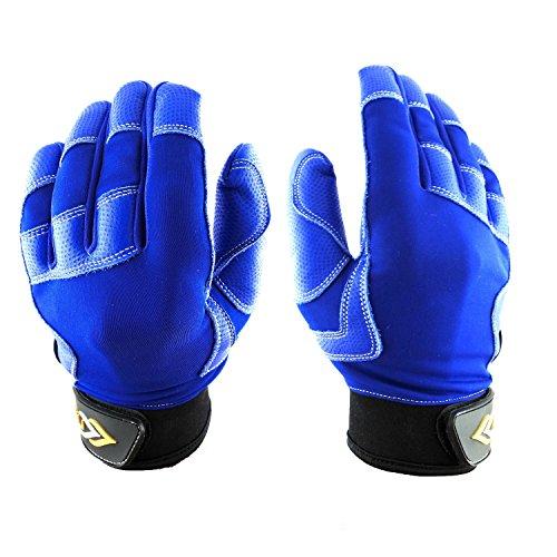 LÜNA Baseball and Softball Batting Gloves | Deep Blue Style | Durable Quality Baseball Gear | Genuine Leather | Unisex Adult (Medium)