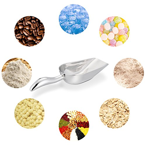 LIANYU Ice Scoop, Stainless Steel Ice Scooper for Freezer Ice Machine Bucket Bar, Food Candy Popcorn Sugar Scoop, Flat Bottom, Heavy Duty, Mirror Finish - 8 Oz by LIANYU (Image #4)