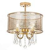 COTULIN Classic Designed 3-Light 15.7'' Golden Chrome Finish Crystal Ceiling Light, Crystal Chandelier for Dining Room Living Room Bedroom
