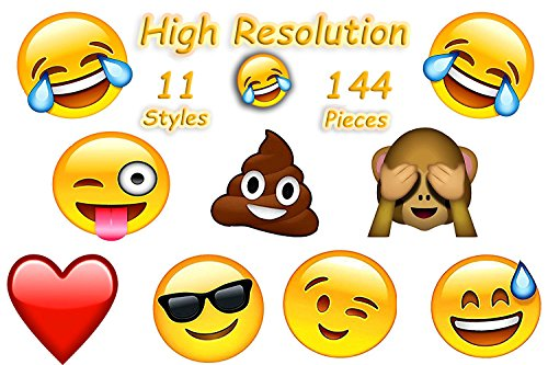 4E's Novelty 144 2 inch Temporary Emoji Tattoos - 12 Assorted Emoticon Easy to Remove Fun Tattoo - Great Treats for Your Party Kid Friendly, Easter Stuffer]()