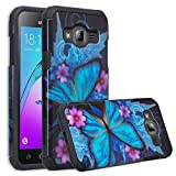 Galaxy J3 Case, Galaxy Express Prime Case, Galaxy Sol, Galaxy Amp Prime [Shock Absorption/Impact Resistant] Hybrid Dual Layer ADefender Protective Case Cover for Samsung Galaxy J3, (Blue Butterfly)