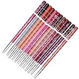 Datework Women's Professional Lipliner Waterproof Lip Liner Pencil 15CM 12 Colors And Lip Brush