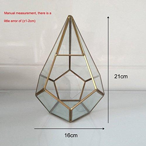 Labu Store Pot for flowers Handmade Prism Glass Terrarium Air Plant pot Geometric Terrarium brass geometric small box glass vase for plant