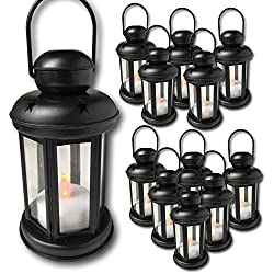 "Decorative Lantern - Set of 12 Each with an LED Flameless Candle Included - 6 Hour Timer - 9"" High Lanterns - Indoor/Outdoor Use"