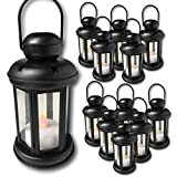 Decorative Lantern - Set of 12 Each with an LED Flameless Candle Included - 6 Hour Timer - 9'' High Lanterns - Indoor/Outdoor Use