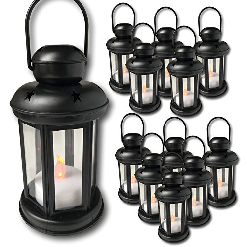 Decorative Lanterns - Set of 12 Each with an LED Flameless Candle Included - 6 Hour Timer - 9