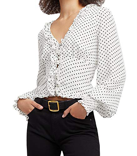 R.Vivimos Women's Chiffon Polka Dot Blouse Ruffle Lantern Sleeve Vintage Buttons Shirt Tops -