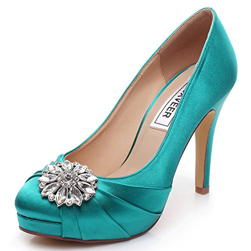 LUXVEER Turquoise Wedding Shoes 4.5 inch-RS-9805-EU39 Wedding Shoes