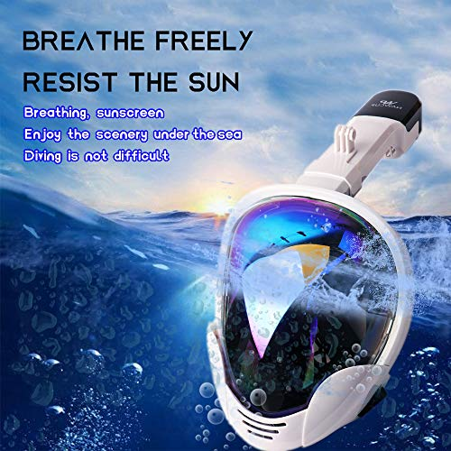 OUUKER Full Face Snorkel Mask, Portable 180° Panoramic View Diving Snorkel Mask Anti-Fog Anti-Leak Safety Diving with Detachable Action Camera Mount for Adults Youth